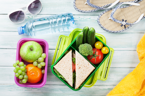 Healthy beach snacks and lunches
