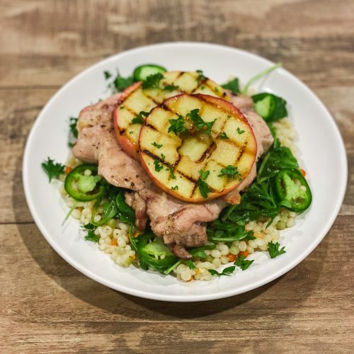 Grilled Chicken with Apples, Arugula and Couscous